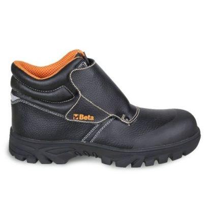 """7310 CRK BASIC PLUS Mérsékelten vízálló fűzős """"hegesztő"""" préseltbőr cipő gyorskioldással és tépőzáras első védőnyelvvel és lángálló varrással, nagy ellenállású gumitalppal"""
