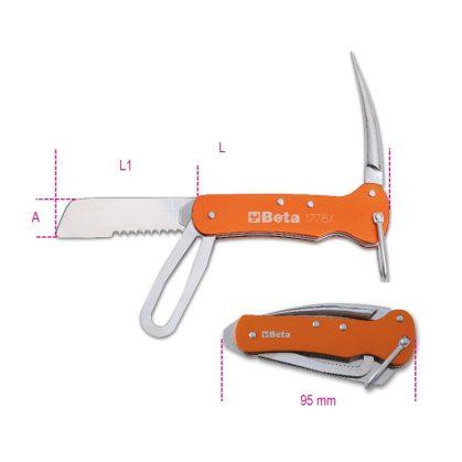 1778X hajós kés rozsdamentes acélból, alumínium nyéllel tokban