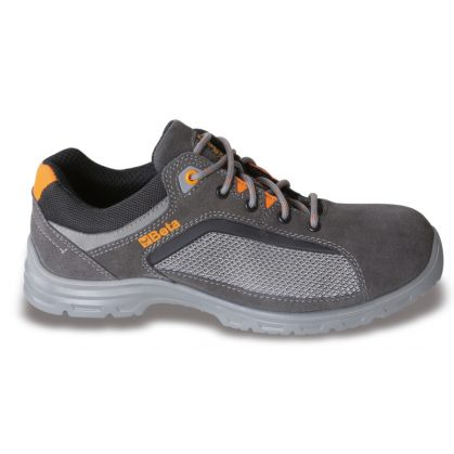 7213FG perforált hasítottbőr cipő, jól szellőző mesh betétekkel