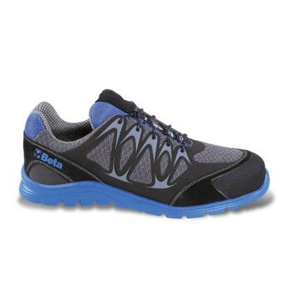 7340B Jól szellőző mesh szövet cipő nagyfrekvenciás PU betétekkel és védő erősítéssel a hasítottbőr orrnál.