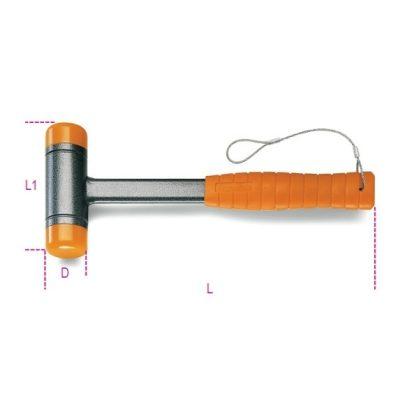 1392HS Ütéselnyelő műanyag kalapács, cserélhető végekkel, acélnyéllel