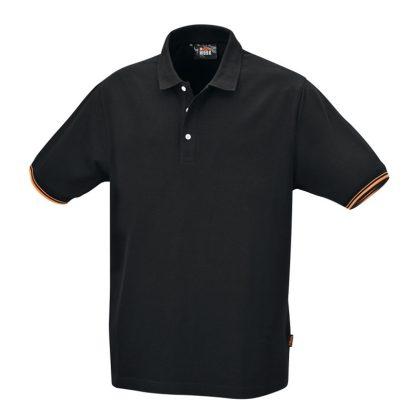 7547N Három gombos pólóing, 100% pamut, 200 g/m2, fekete