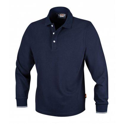 7557BL Három gombos pólóing, hosszú ujjú 100% pamut, 200 g/m2, kék