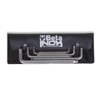 96BPINOX/B6 6 darabos hatlapfejű hajlított belső kulcs gömbös szélekkel, rozsdamentes acélból, tasakban