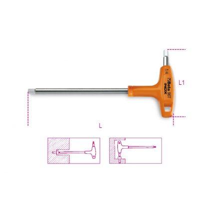 96TINOX-AS T szárú belső hatlapfejű kulcs műanyag markolattal, rozsdamentes acélból