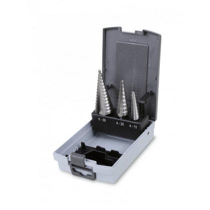425/SP lépcsős lemezfúró szerszám készlet műanyag tartóban