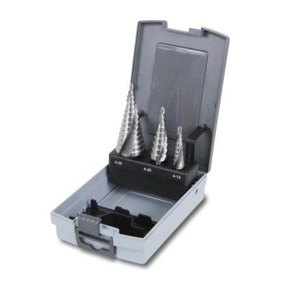 425E/SP3 3 darabos kúpos lépcsős lemezfúró szerszám készlet HSS acél hatékonyabb élezéssel