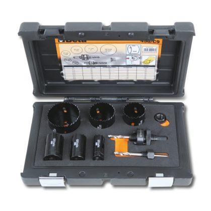 450/C9 Koronafúró készlet villanyszerelőknek, ütésálló műanyag dobozban