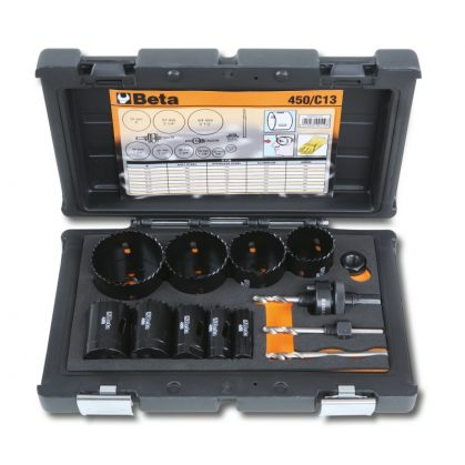 450/C13 HSS/Bimetall-koronafúrókészlet gáz és vízvezetékszerelőknek ütésálló műanyag dobozban