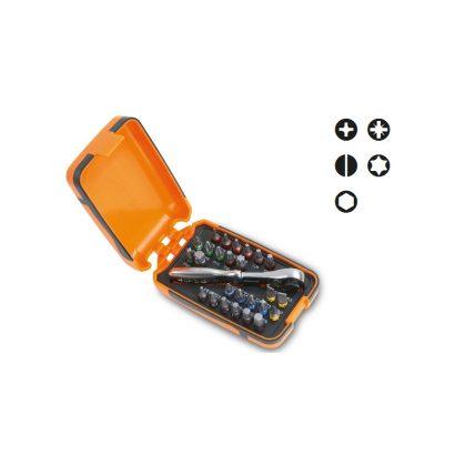 860/C27 25 csavarhúzóbetét, 1 betéttartó és 1 irányváltós racsni, műanyag dobozban