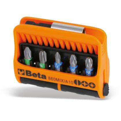 860MIX/A10 10 csavarhúzóbetét és mágneses betéttartó, műanyag dobozban