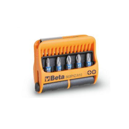 860PHZ/A10 10 csavarhúzóbetét és mágneses betéttartó, műanyag dobozban
