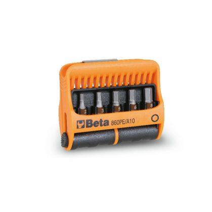 860PE/A10 10 csavarhúzóbetét és mágneses betéttartó, műanyag dobozban