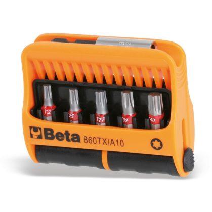 860TX/A10 10 csavarhúzóbetét és mágneses gyorslazítású betéttartó, műanyag dobozban