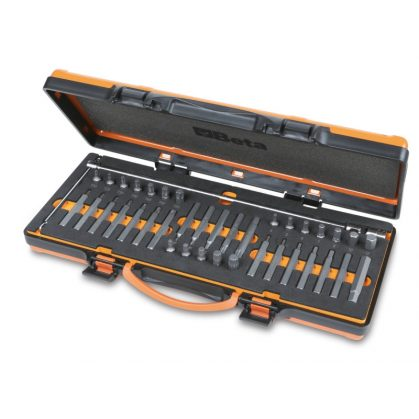 867/C38 38 RIBE® betétből álló készlet 10 mm hatlapfejű csatlakozóval és 1 csuklós T betéttartóval lágy hőformázott tálcán és lemezdobozban