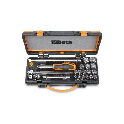 910A/C16HR 16 hatlapú dugókulcs és 5 tartozék szivacsbetétes fémdobozban
