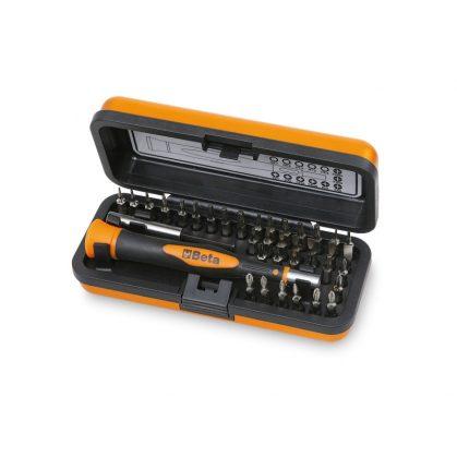 1256/C36-2 Bimateriál-műszerész csavarhúzó 36 cserélhető 4 mm-es bit-tel és mágneses hosszabbítóval
