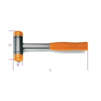 1392 Ütéselnyelő műanyag kalapács, cserélhető végekkel, acélnyéllel