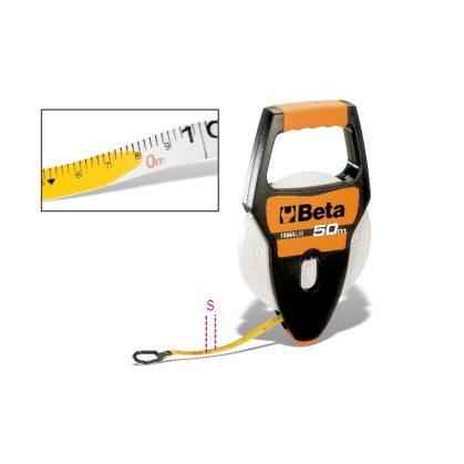 1694A/L Fogantyús mérőszalag, ütésálló ABS-ház, PVC borítású üvegszál szalag, Pontossági osztály: III
