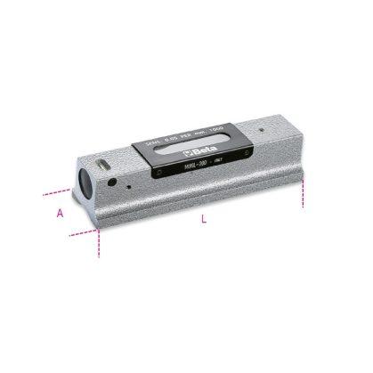 1699L Precíziós vízmérték, vasöntvény, köszörült prizmaalaplappal, 2 törésbiztos libella, fadobozban, pontosság: 0.05 mm/m