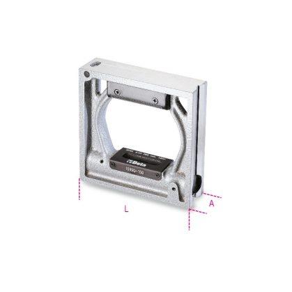 1699Q Precíziós keretes vízmérték, vasöntvény, 2 prizmaalakú és 2 köszörült lapos alappal, 2 törésbiztos libella, pontosság: 0.05 mm/m