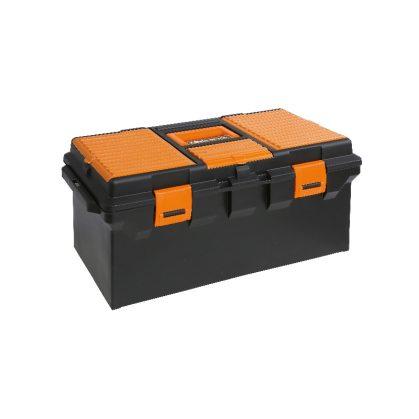 CP15L - 2115 Műanyag szerszámos láda, hosszú kivitel kivehető betéttel és tálcák kis tárgyak elhelyezésére, üres