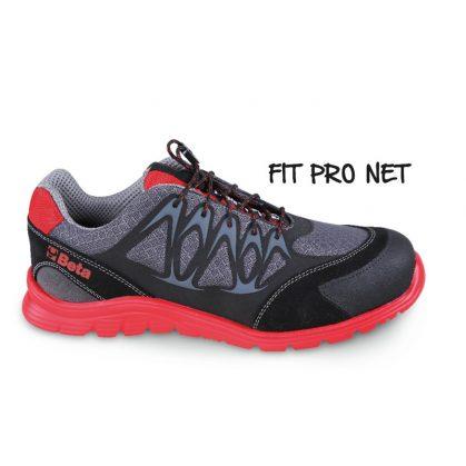 7340R Jól szellőző mesh szövet cipő nagyfrekvenciás PU betétekkel és hasítottbőr kéreg orr erősítéssel.