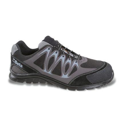 7341N Mikro hasítottbőr cipő, mérsékelten vízálló, nagyfrekvenciás PU betétekkel és védő erősítéssel a hasítottbőr orrnál.