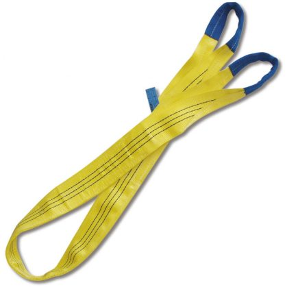 8156 3 t sárga emelőheveder kétrétegű, lapos szalag, erősített karikákkal, nagy ellenállású polieszter (PES)