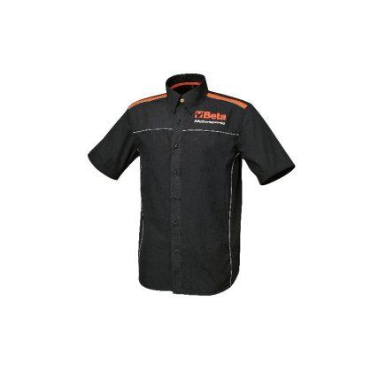 9510 Rövid újjú ing 100 % pamutpuplin, 110 g/m2, narancssárga betétek és fehér szegély, kontraszt narancssárga gomb, fénnyvisszaverő logo elöl és a hátán